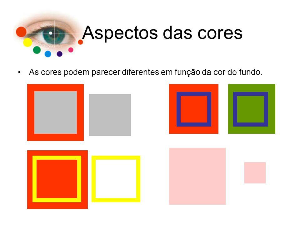 Aspectos das cores As cores podem parecer diferentes em função da cor do fundo.