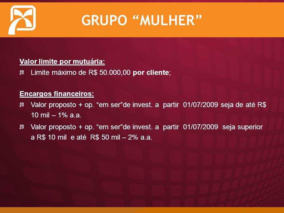 GRUPO MULHER Valor limite por mutuária: