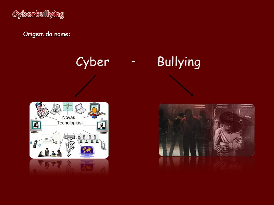 Cyberbullying Origem do nome: Cyber - Bullying