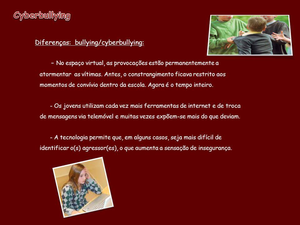 Cyberbullying Diferenças: bullying/cyberbullying: