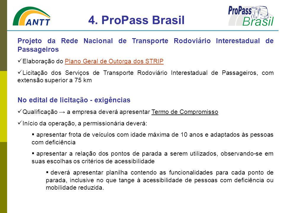 4. ProPass Brasil Projeto da Rede Nacional de Transporte Rodoviário Interestadual de Passageiros. Elaboração do Plano Geral de Outorga dos STRIP.