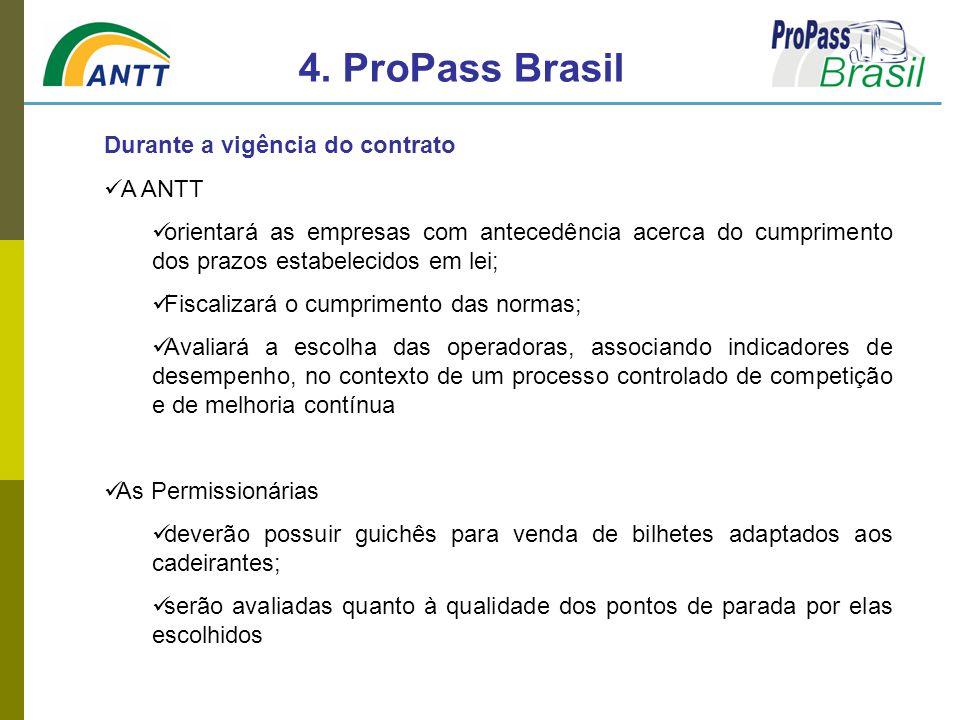 4. ProPass Brasil Durante a vigência do contrato A ANTT