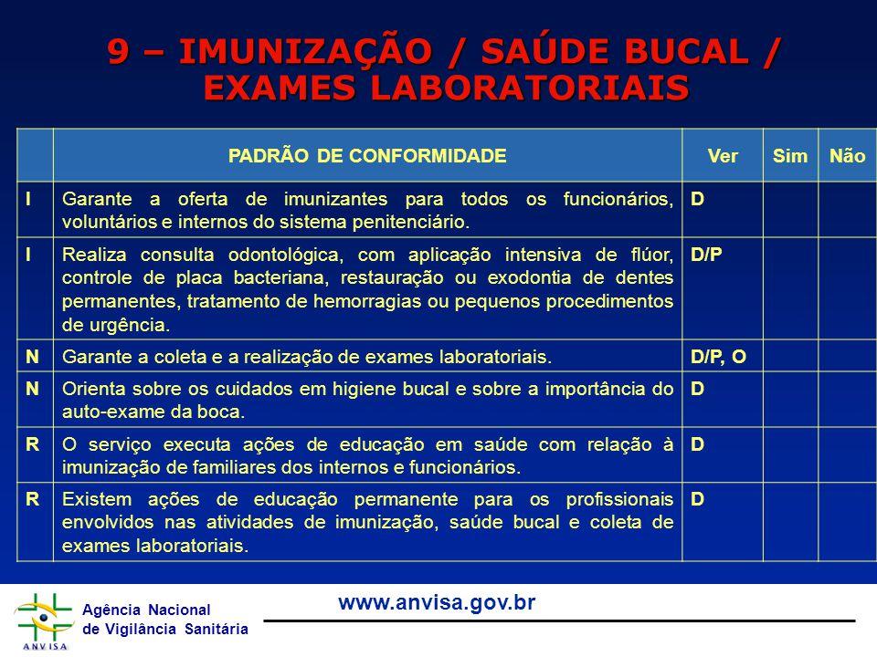 9 – IMUNIZAÇÃO / SAÚDE BUCAL / EXAMES LABORATORIAIS