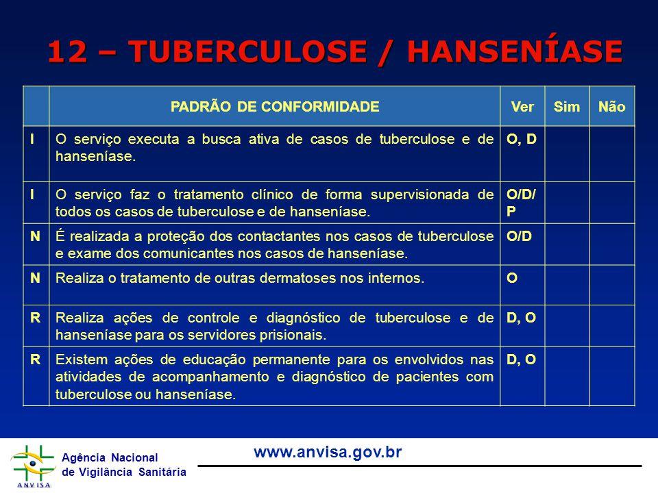 12 – TUBERCULOSE / HANSENÍASE