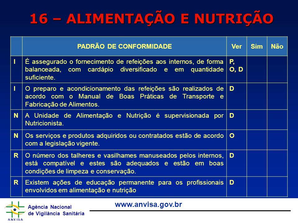 16 – ALIMENTAÇÃO E NUTRIÇÃO