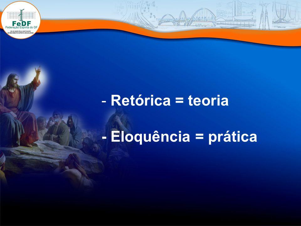 Retórica = teoria - Eloquência = prática