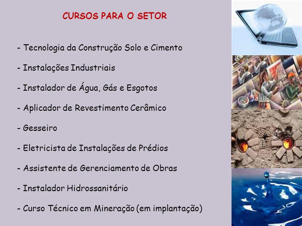 CURSOS PARA O SETOR Tecnologia da Construção Solo e Cimento. Instalações Industriais. Instalador de Água, Gás e Esgotos.
