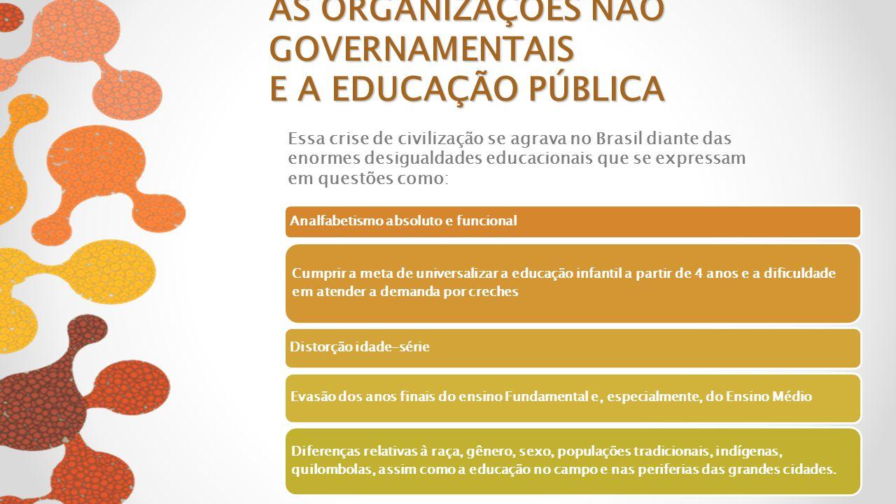 AS ORGANIZAÇÕES NÃO GOVERNAMENTAIS E A EDUCAÇÃO PÚBLICA