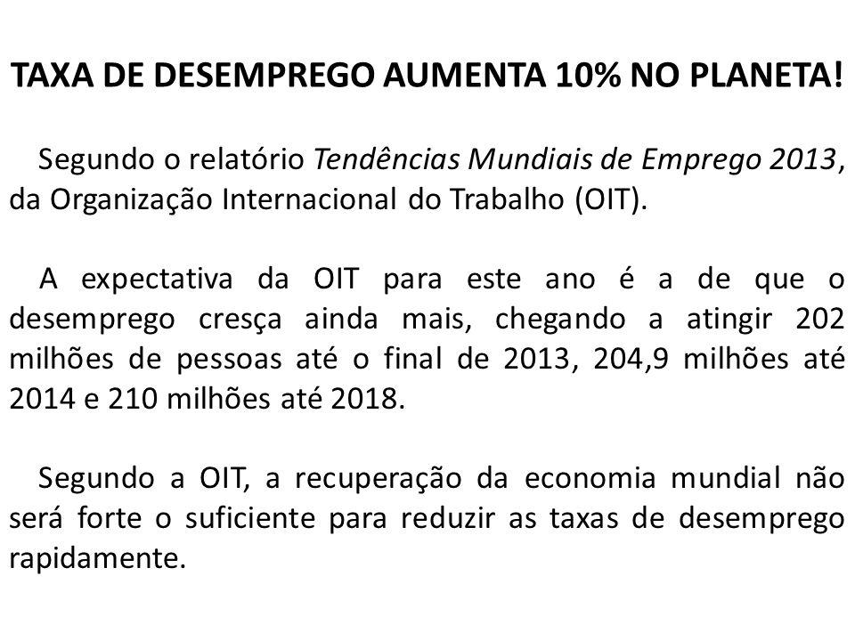TAXA DE DESEMPREGO AUMENTA 10% NO PLANETA!
