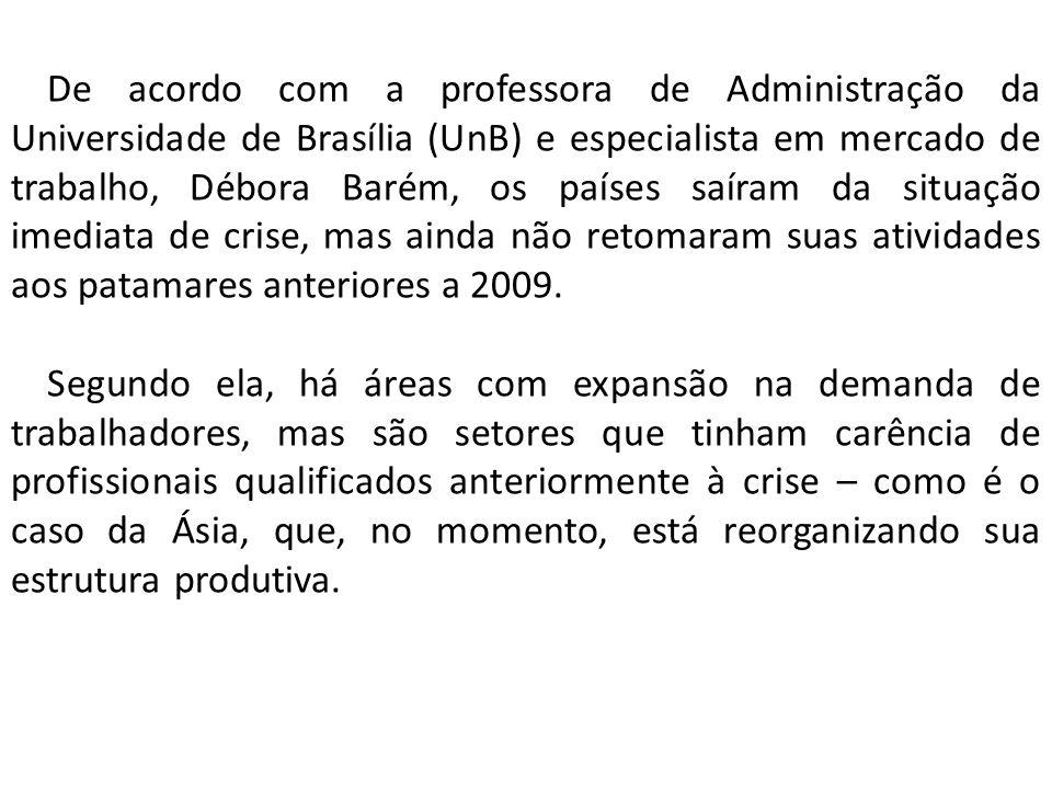 De acordo com a professora de Administração da Universidade de Brasília (UnB) e especialista em mercado de trabalho, Débora Barém, os países saíram da situação imediata de crise, mas ainda não retomaram suas atividades aos patamares anteriores a 2009.