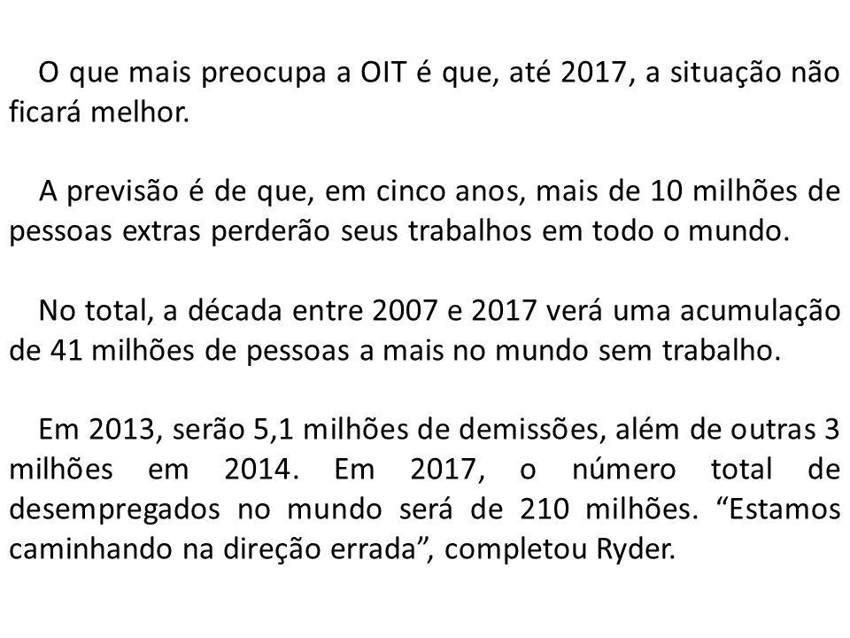 O que mais preocupa a OIT é que, até 2017, a situação não ficará melhor.