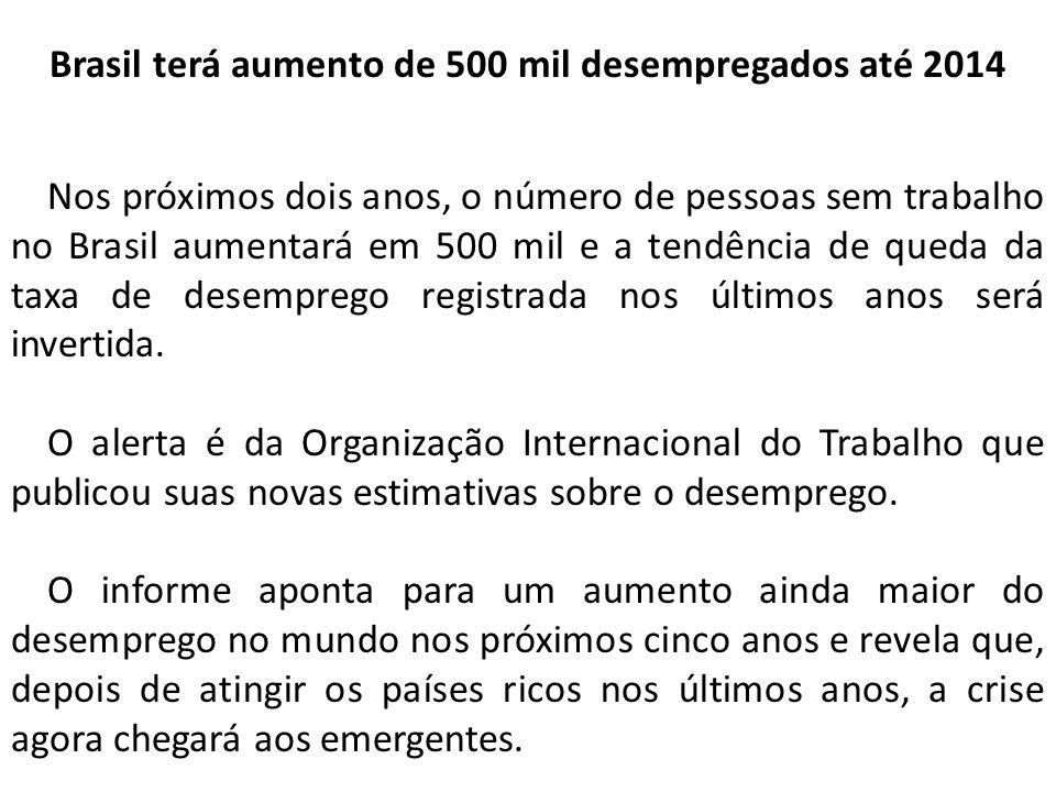 Brasil terá aumento de 500 mil desempregados até 2014
