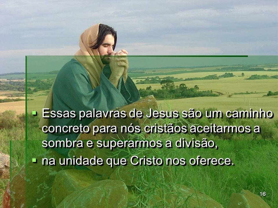 Essas palavras de Jesus são um caminho concreto para nós cristãos aceitarmos a sombra e superarmos a divisão,