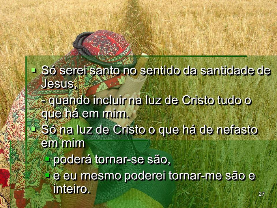 Só serei santo no sentido da santidade de Jesus,
