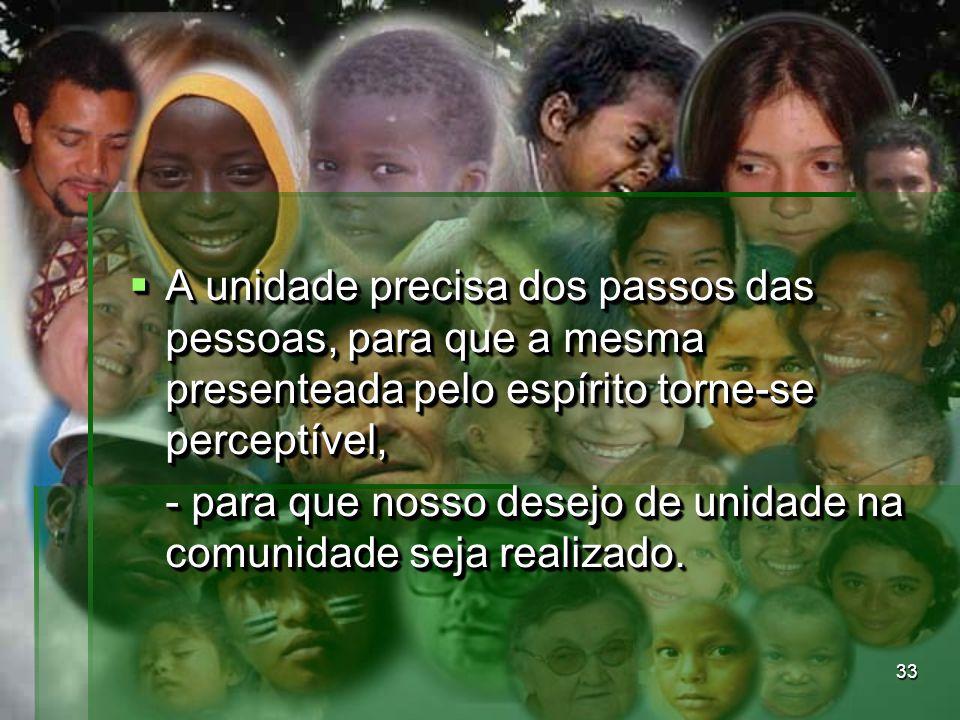 A unidade precisa dos passos das pessoas, para que a mesma presenteada pelo espírito torne-se perceptível,