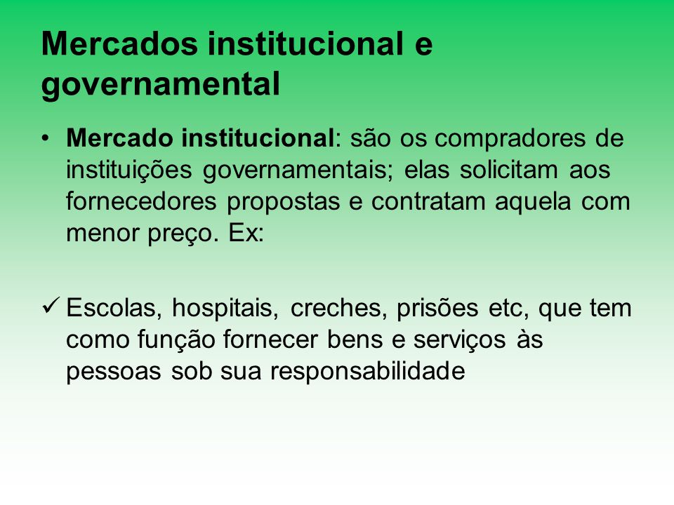 Mercados institucional e governamental