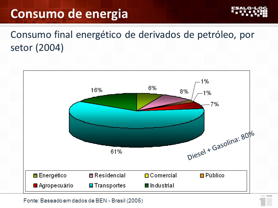 Consumo final energético de derivados de petróleo, por setor (2004)