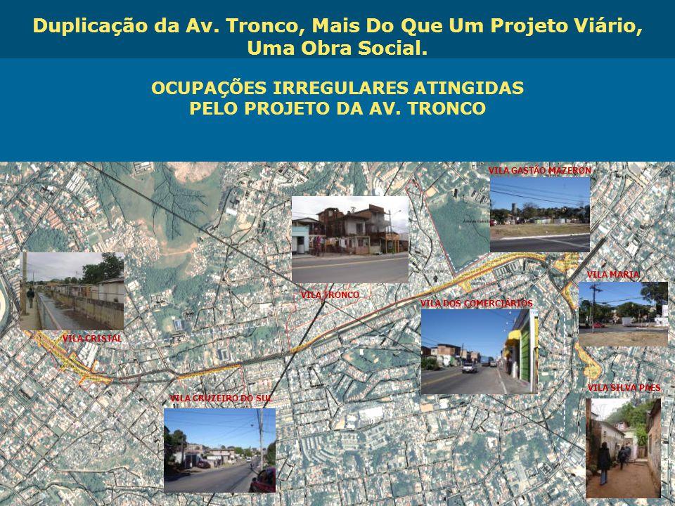 OCUPAÇÕES IRREGULARES ATINGIDAS PELO PROJETO DA AV. TRONCO