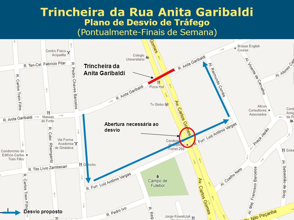 Trincheira da Rua Anita Garibaldi Plano de Desvio de Tráfego