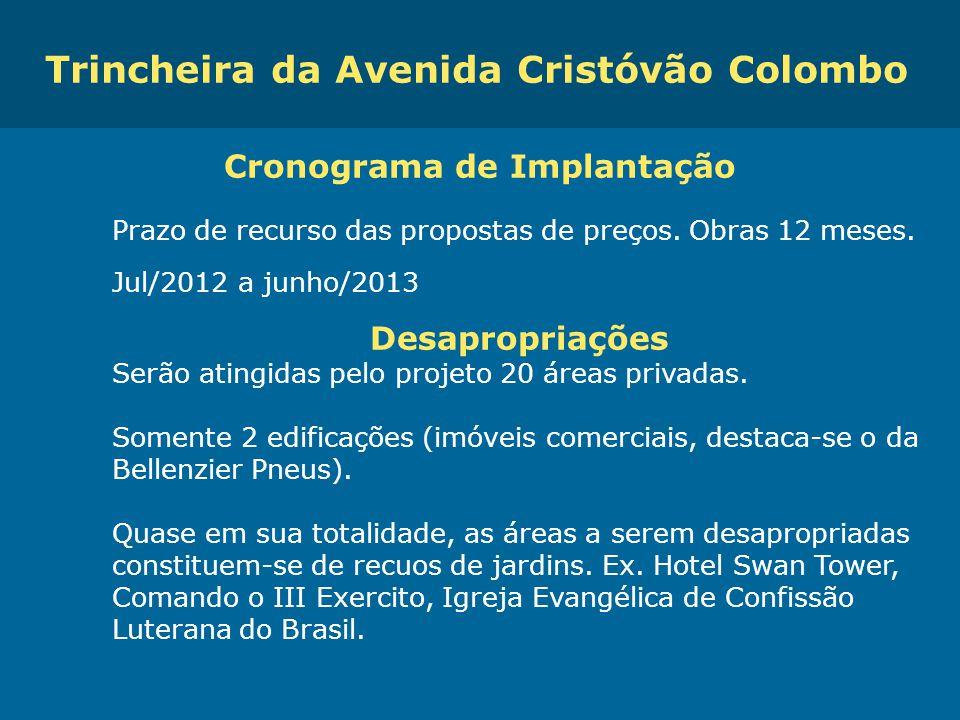 Trincheira da Avenida Cristóvão Colombo Cronograma de Implantação