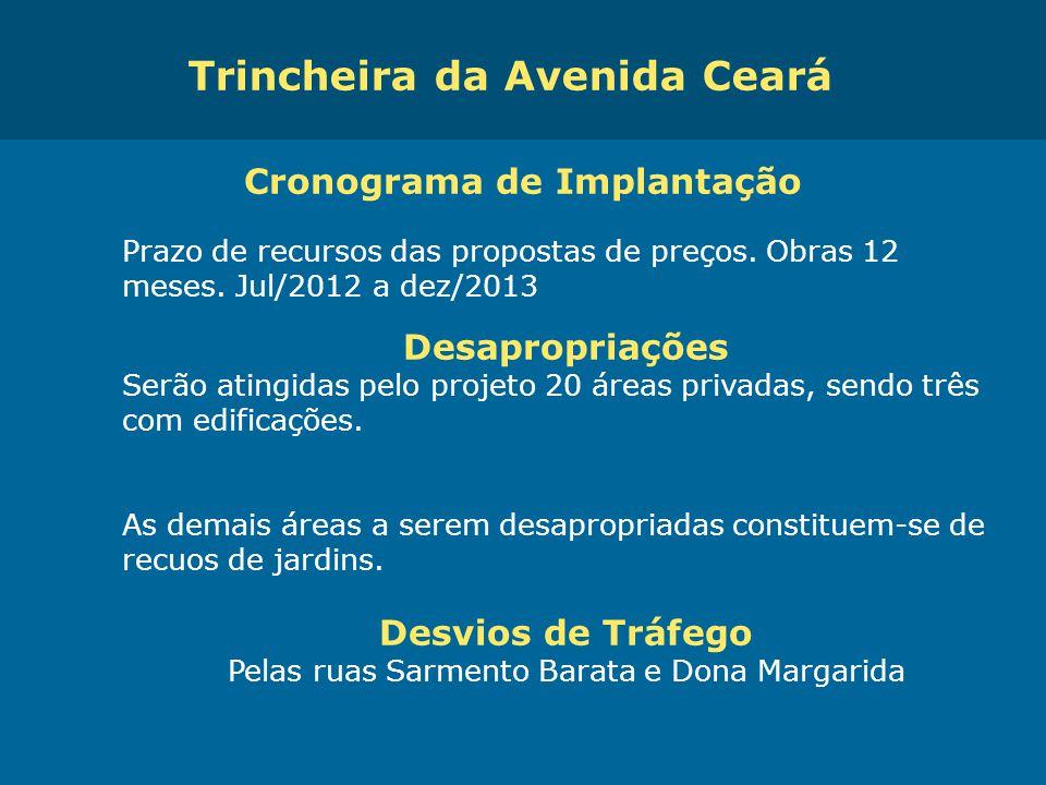 Trincheira da Avenida Ceará Cronograma de Implantação