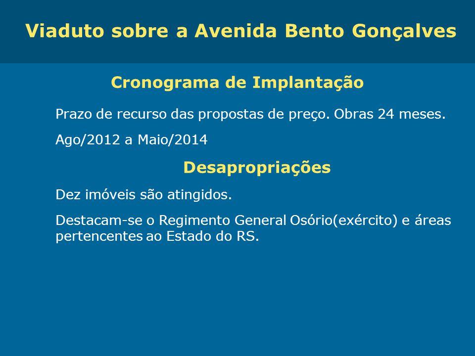 Viaduto sobre a Avenida Bento Gonçalves Cronograma de Implantação