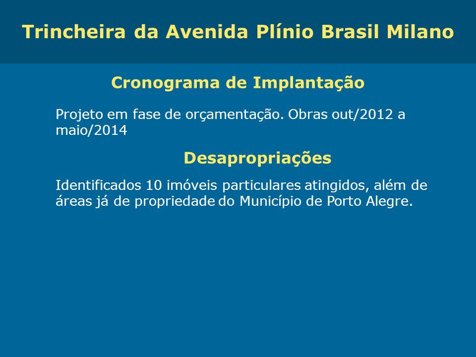 Trincheira da Avenida Plínio Brasil Milano Cronograma de Implantação