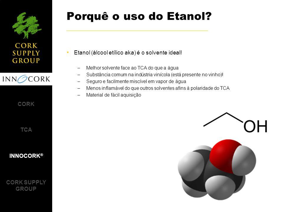 Porquê o uso do Etanol Etanol (álcool etílico aka) é o solvente ideal! Melhor solvente face ao TCA do que a água.