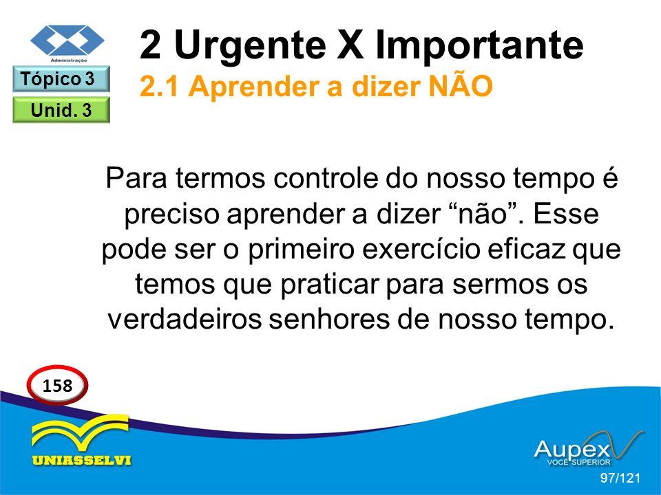 2 Urgente X Importante 2.1 Aprender a dizer NÃO