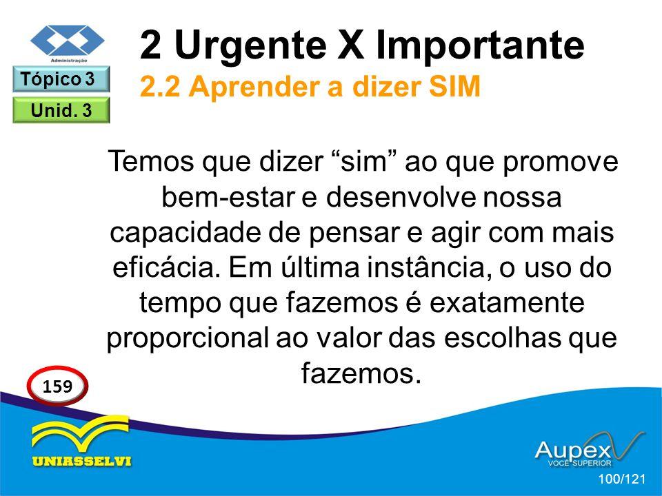 2 Urgente X Importante 2.2 Aprender a dizer SIM