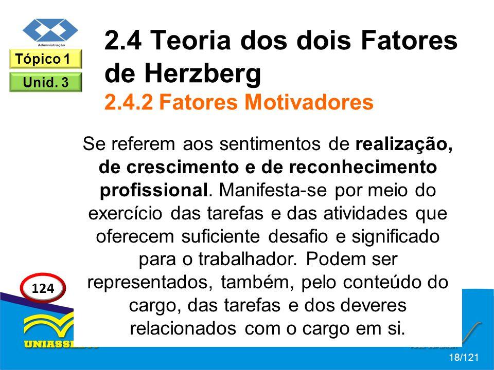 2.4 Teoria dos dois Fatores de Herzberg 2.4.2 Fatores Motivadores