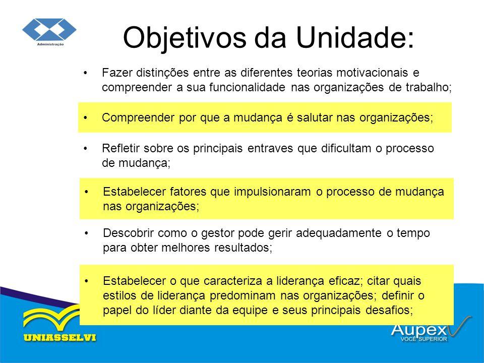 Objetivos da Unidade: Fazer distinções entre as diferentes teorias motivacionais e compreender a sua funcionalidade nas organizações de trabalho;