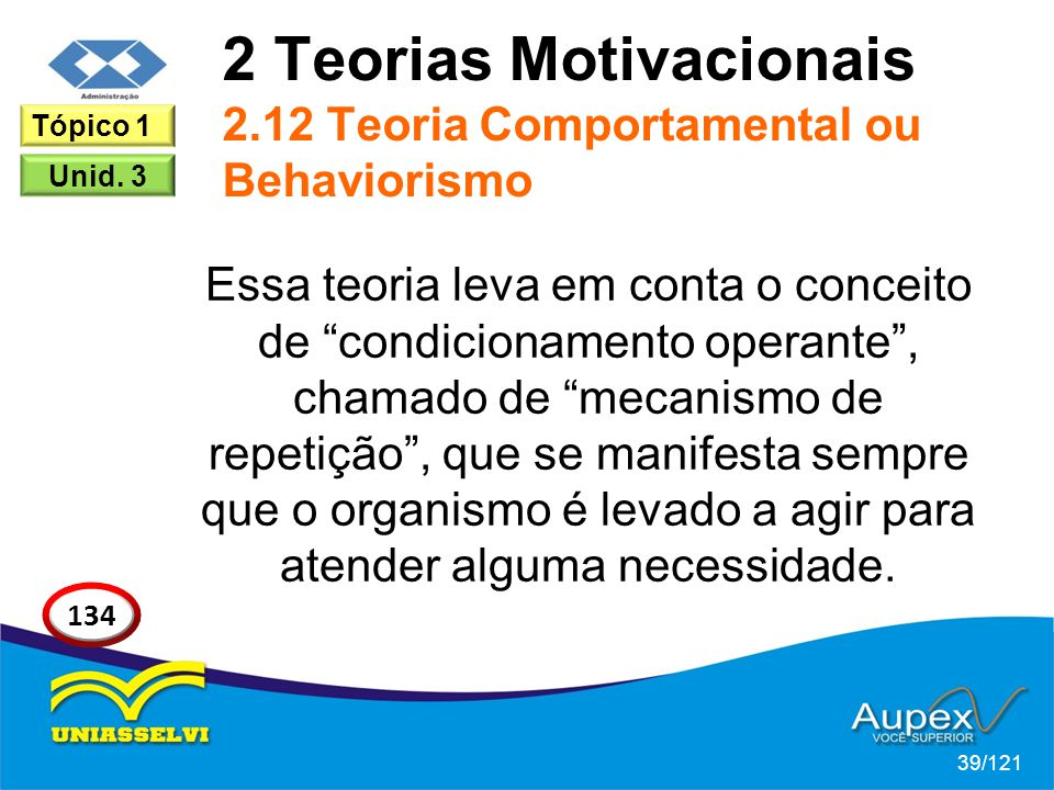 2 Teorias Motivacionais 2.12 Teoria Comportamental ou Behaviorismo