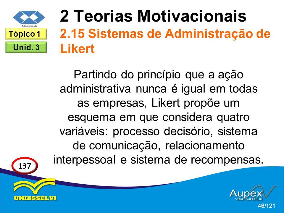 2 Teorias Motivacionais 2.15 Sistemas de Administração de Likert