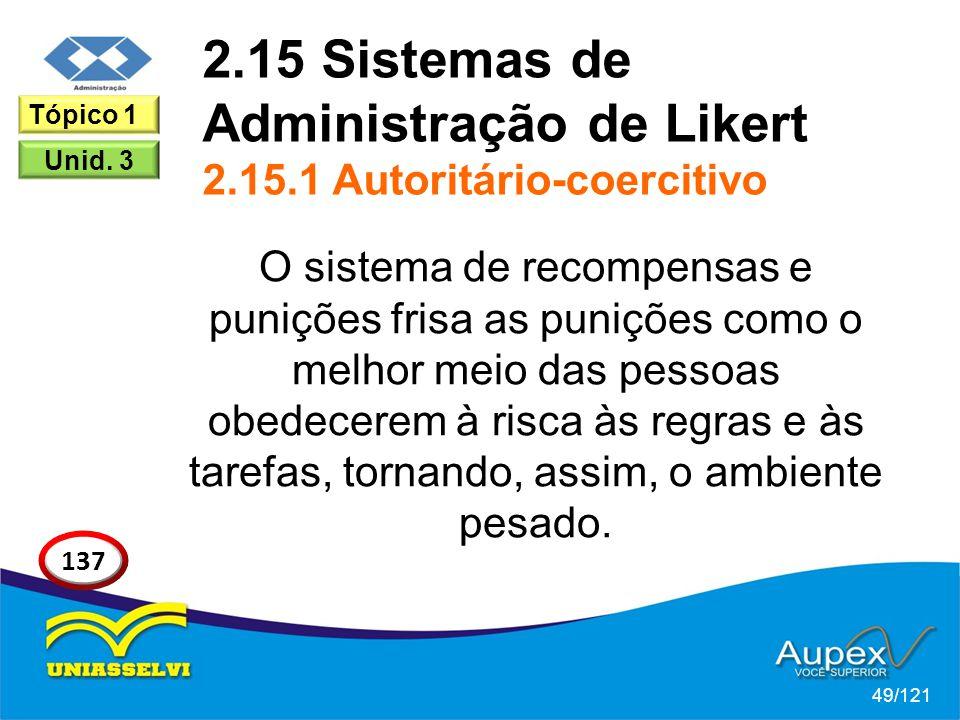 2.15 Sistemas de Administração de Likert 2.15.1 Autoritário-coercitivo