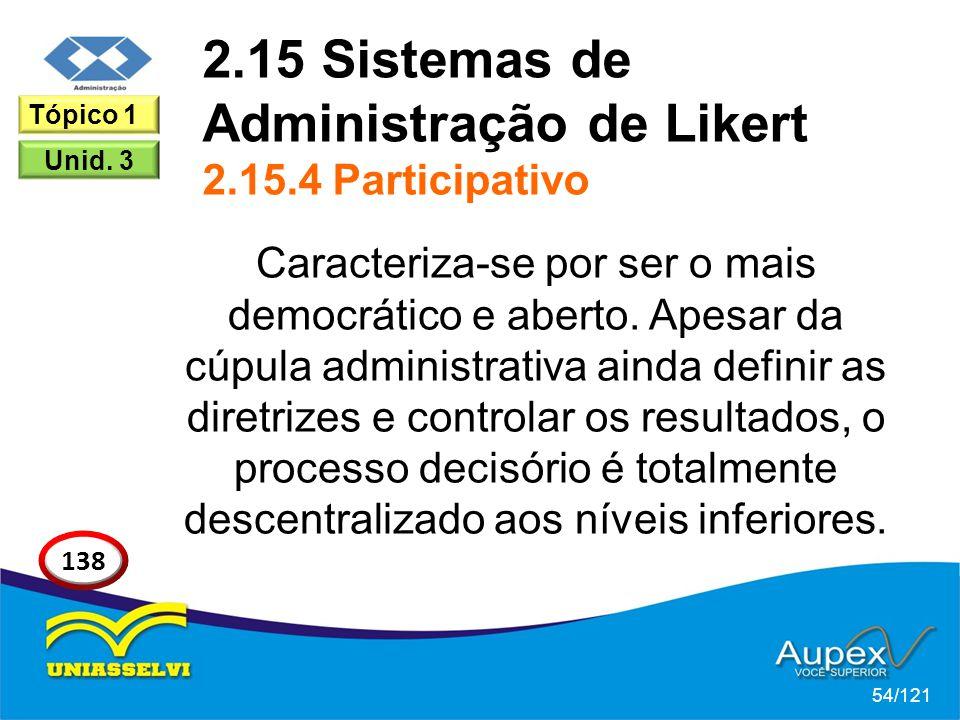 2.15 Sistemas de Administração de Likert 2.15.4 Participativo