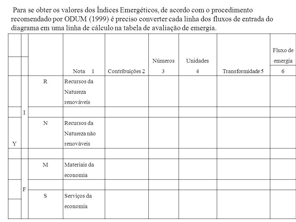 Para se obter os valores dos Índices Emergéticos, de acordo com o procedimento recomendado por ODUM (1999) é preciso converter cada linha dos fluxos de entrada do diagrama em uma linha de cálculo na tabela de avaliação de emergia.