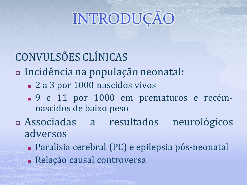 INTRODUÇÃO CONVULSÕES CLÍNICAS Incidência na população neonatal: