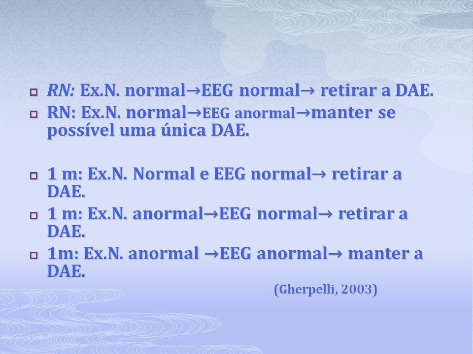 RN: Ex.N. normal→EEG normal→ retirar a DAE.