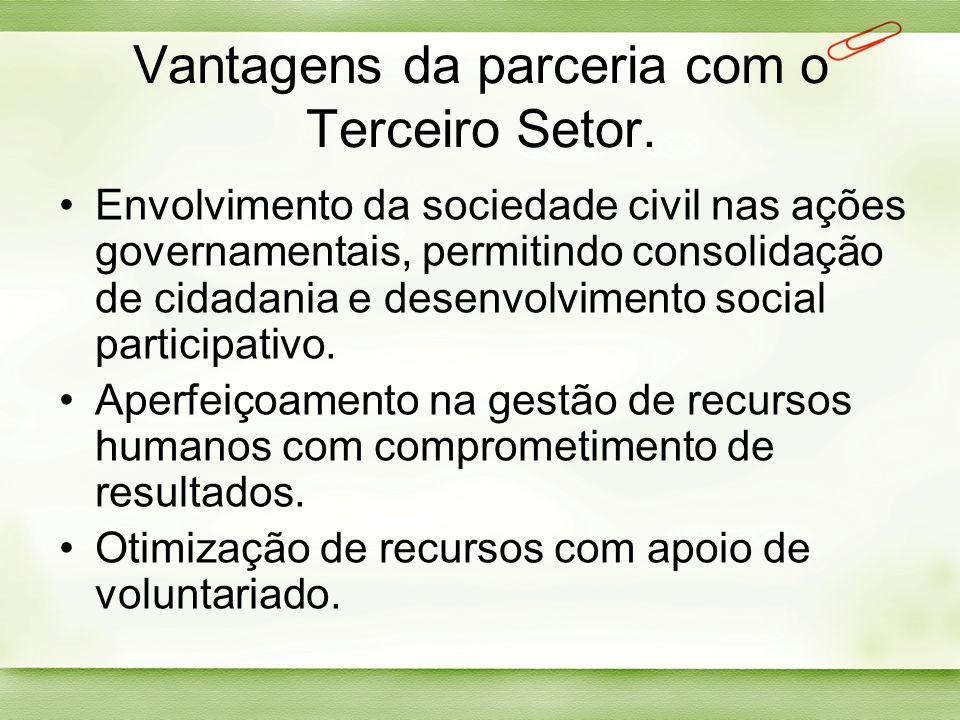 Vantagens da parceria com o Terceiro Setor.