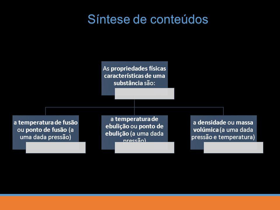 Síntese de conteúdos As propriedades físicas características de uma substância são: a temperatura de fusão ou ponto de fusão (a uma dada pressão)