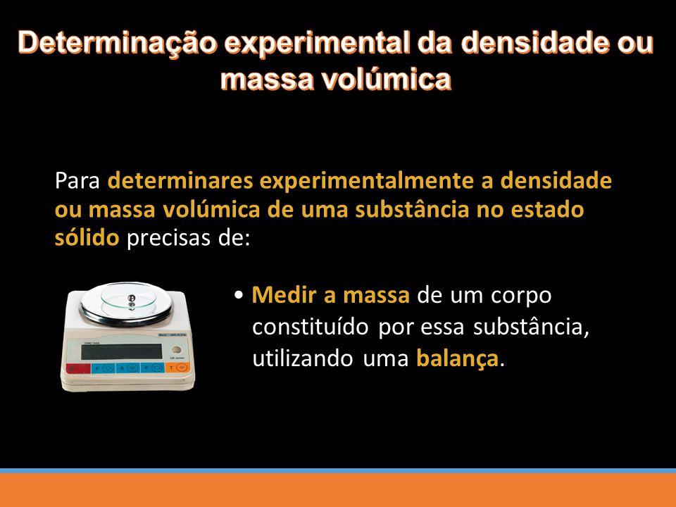 Determinação experimental da densidade ou massa volúmica
