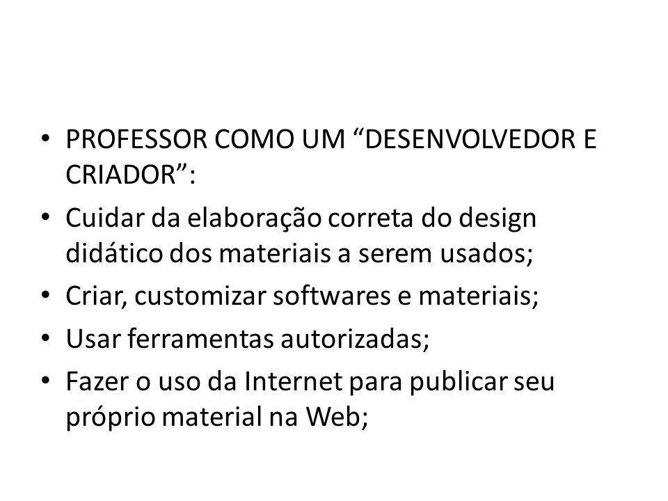PROFESSOR COMO UM DESENVOLVEDOR E CRIADOR :