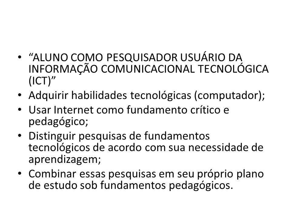 ALUNO COMO PESQUISADOR USUÁRIO DA INFORMAÇÃO COMUNICACIONAL TECNOLÓGICA (ICT)