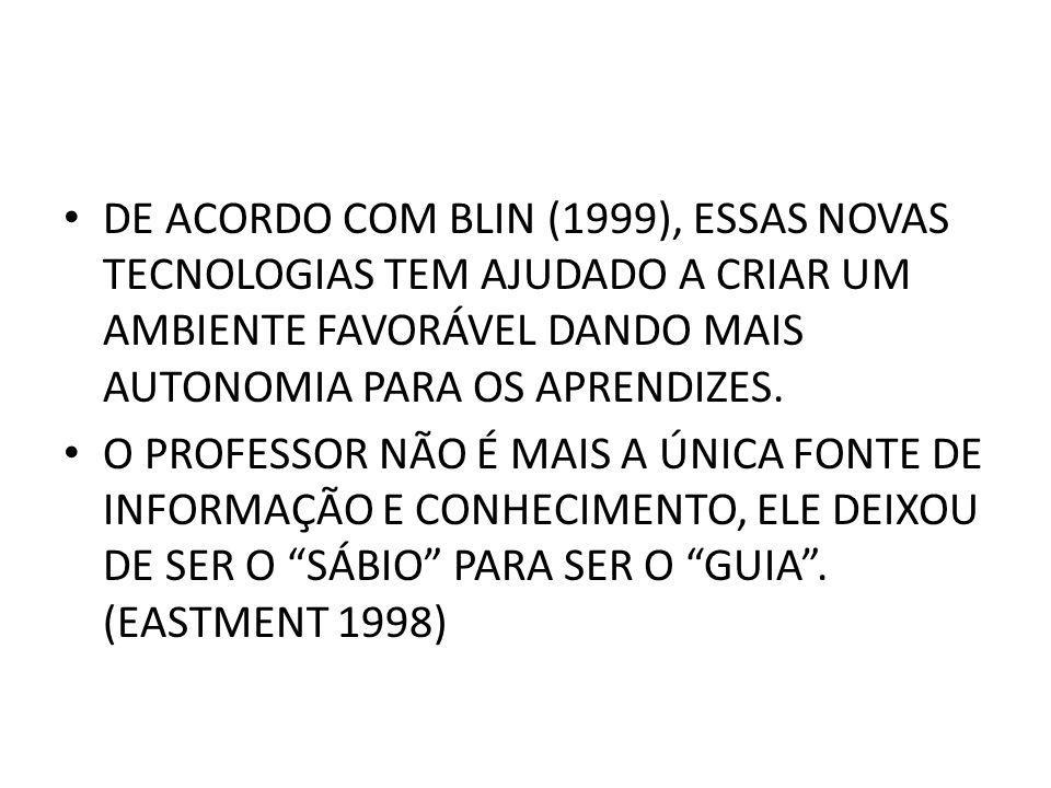 DE ACORDO COM BLIN (1999), ESSAS NOVAS TECNOLOGIAS TEM AJUDADO A CRIAR UM AMBIENTE FAVORÁVEL DANDO MAIS AUTONOMIA PARA OS APRENDIZES.