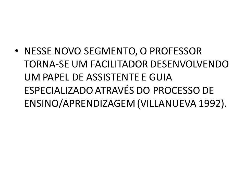NESSE NOVO SEGMENTO, O PROFESSOR TORNA-SE UM FACILITADOR DESENVOLVENDO UM PAPEL DE ASSISTENTE E GUIA ESPECIALIZADO ATRAVÉS DO PROCESSO DE ENSINO/APRENDIZAGEM (VILLANUEVA 1992).