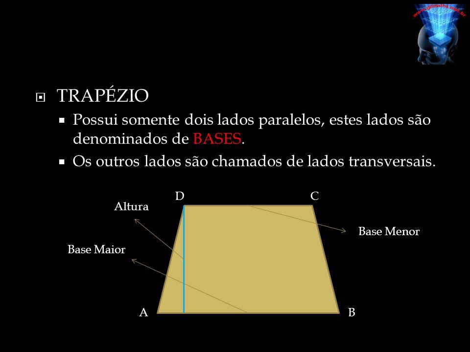 TRAPÉZIO Possui somente dois lados paralelos, estes lados são denominados de BASES. Os outros lados são chamados de lados transversais.