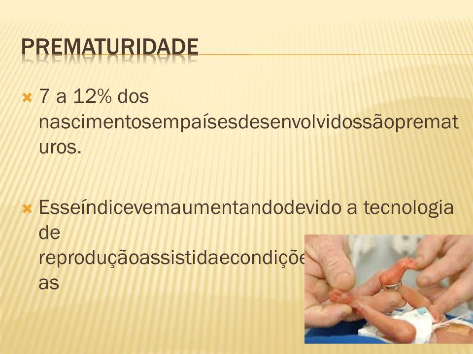 Prematuridade 7 a 12% dos nascimentosempaísesdesenvolvidossãoprematuros.