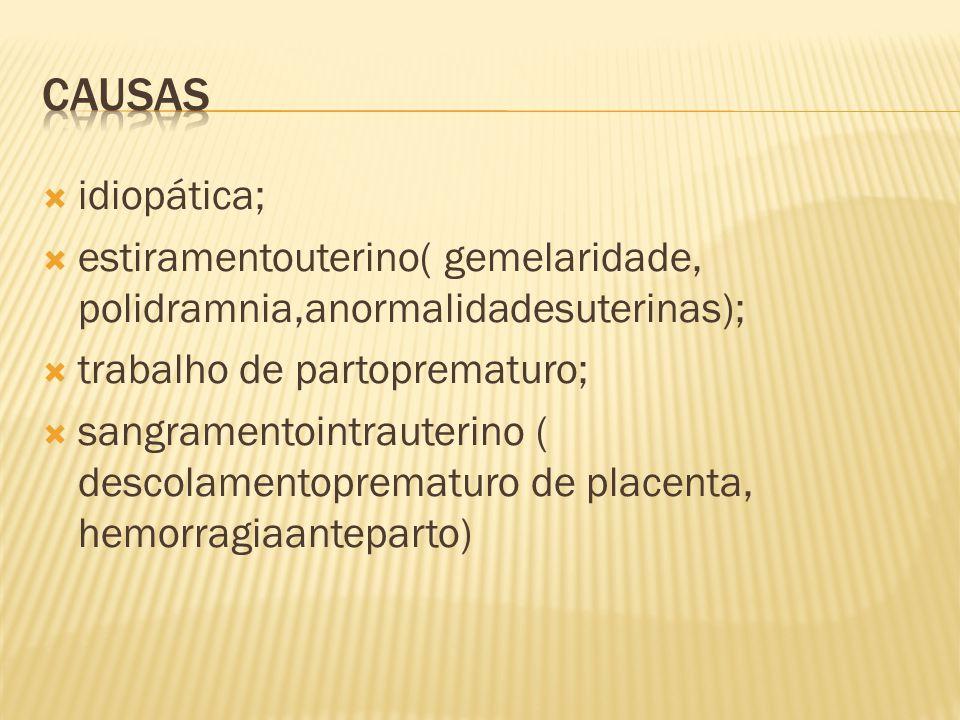Causas idiopática; estiramentouterino( gemelaridade, polidramnia,anormalidadesuterinas); trabalho de partoprematuro;
