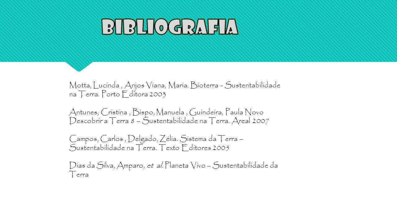 Bibliografia Motta, Lucinda , Anjos Viana, Maria. Bioterra - Sustentabilidade na Terra. Porto Editora 2003.